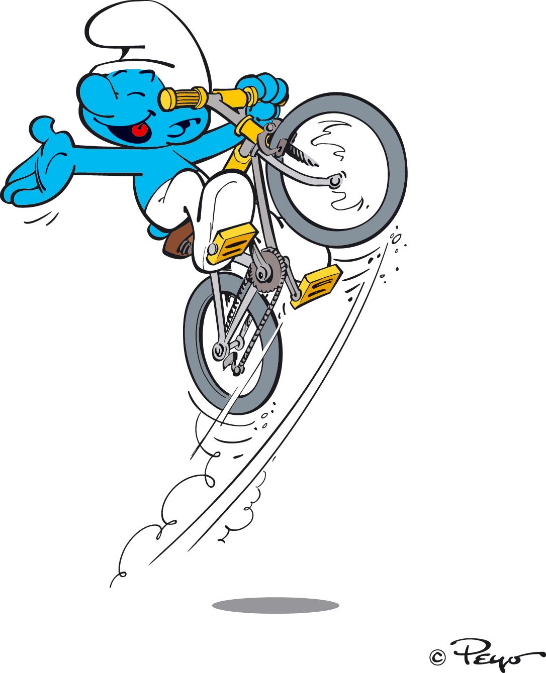 """Résultat de recherche d'images pour """"schtroumpf sur un vélo"""""""