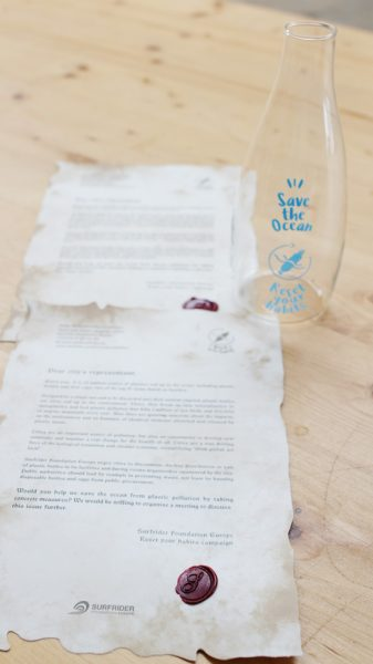 message and glass bottle
